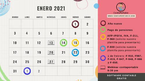 Calendario Tributario 2021, ISSS Ministerio de hacienda, Ipsfa, Inpep AFP confia, Afp Crecer